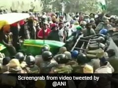 Farmers Run Tractor Over Barricade As Uttarakhand Cops Block Protests