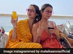 """Sunshine Duo"" Malaika, Amrita Arora Ace Beach Style In Colourpop Maxis"