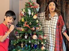 "A Scene From Shilpa Shetty And Son Viaan Raj Kundra's ""Favourite"" Christmas Tradition"