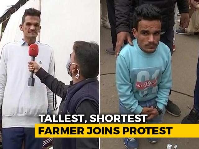 Video : Tallest, Shortest Men In Haryana Join Farmer Protests