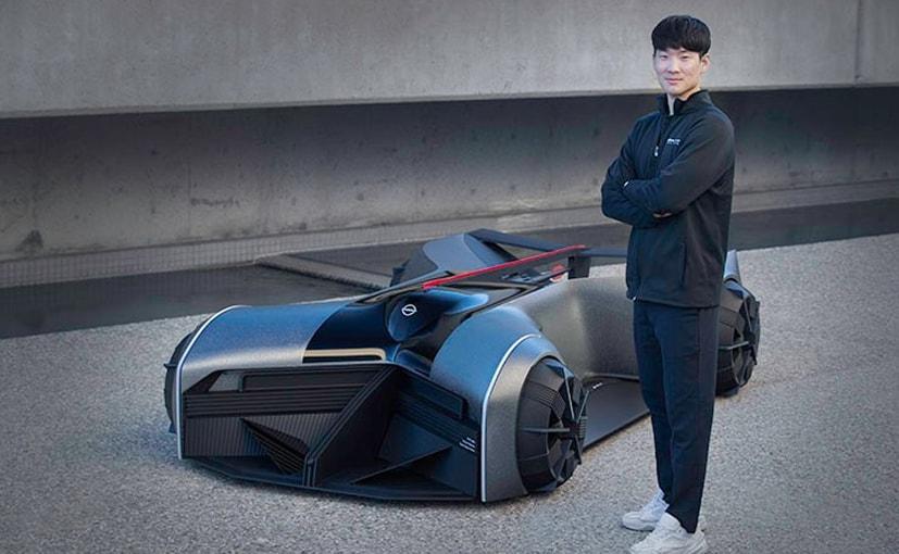 Car designer Jaebum Choi wilth his concept car the Nissan GT-R(X) 2050