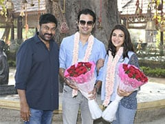 Chiranjeevi Welcomes Kajal Aggarwal And Gautam Kitchlu On <i>Acharya</i> Set. See Pics