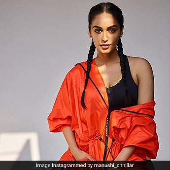 Manushi Chhillar Goes Sporty Chic In Orange And Black Topped With Boxer Braids