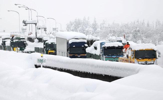 Heavy Snowfall Blocks Hundreds Of Vehicles In Japan, Rescue Underway