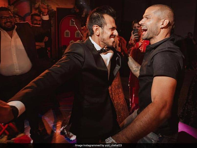 Yuzvendra Chahal Seen Grooving With Shikhar Dhawan At Formers Sangeet Ceremony With Dhanashree Verma. See Pics