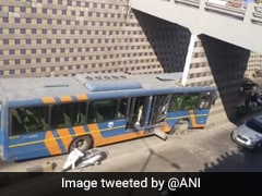 Bus Rams Underpass Pillar, Splits Into Two In Gujarat's Ahmedabad