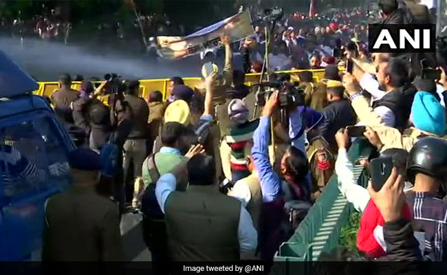 Water Canons Used On Congress Workers Protesting Near Haryana Chief Minister's Home