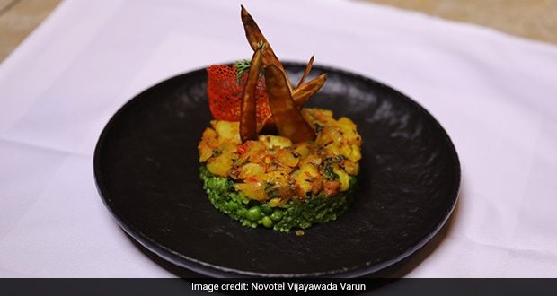 Green Pea Risotto With Aloo Jeera