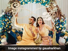 #GaZa Wedding: Gauahar Khan Is A Floral Dream In Her Colourful <i>Lehenga</i>