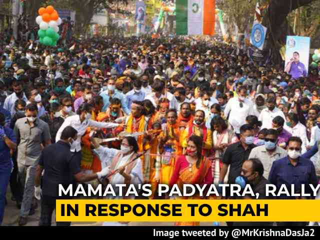 Video : Mamata Banerjee's Padyatra, Rally In Response To Amit Shah's