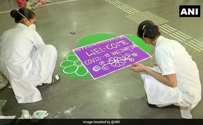 Coronavirus Vaccine: Special Rangoli At Pune Hospital To Welcome People