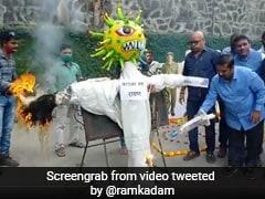 "Mumbai BJP Workers Burn ""Coronavirus <i>Raavan</i>"" As India Begins Vaccination"