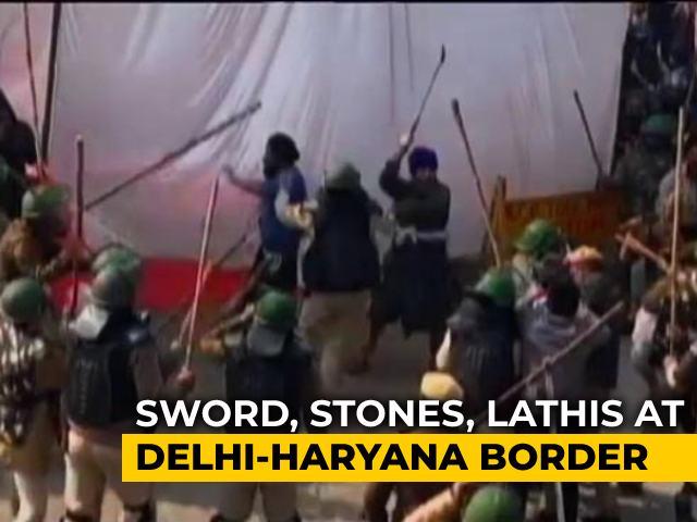 Video : Sword, Stones, Lathis At Delhi-Haryana Border