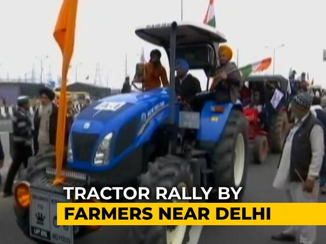 Video : Tractor Rally By Farmers Near Delhi