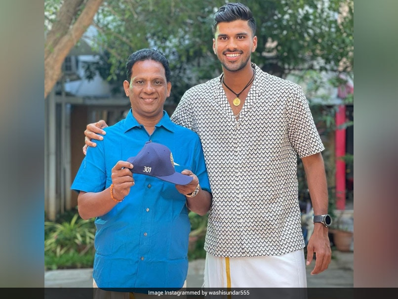 """Washington Sundar Flaunts """"Priceless Possessions"""", Shares Picture With Father"""