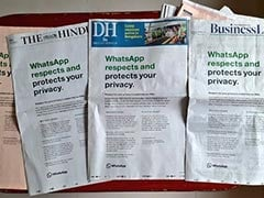 Full-Page Ads On Day 2: WhatsApp Tries To Allay Privacy Concerns Again