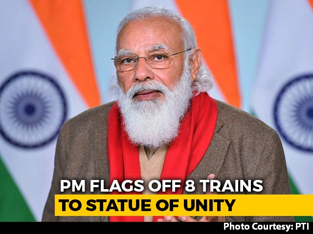 """Video : """"Historic Day"""": PM Flags Off 8 Trains To Boost Tourism To Statue Of Unity"""