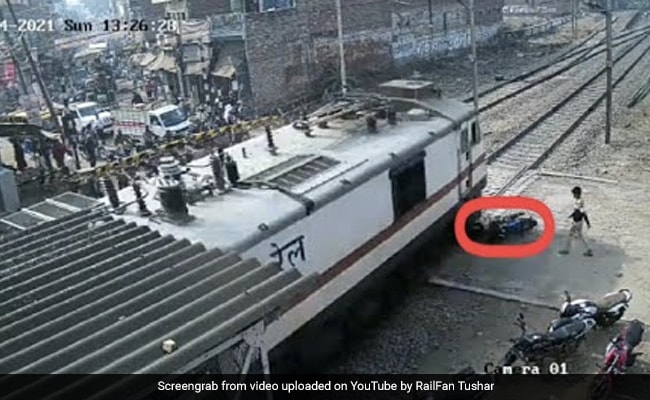 Viral Video: Man Narrowly Avoids Getting Hit By Train That Crushed His Bike