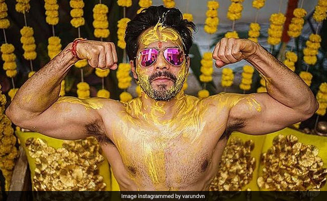 "Varun Dhawan Shares Pics From ""Haldi Done Right"""