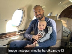 """Hardik Pandya Shares Adorable Picture As Son Agastya Boards """"First Flight"""""""