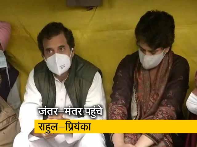 Video : कांग्रेस सांसदों से मिलने जंतर-मंतर पहुंचे राहुल-प्रियंका गांधी