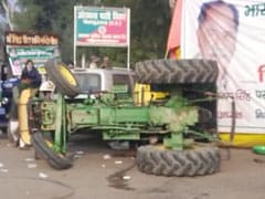 Tractor With 2 Farmers Overturns During Stunt At Delhi-Noida Border