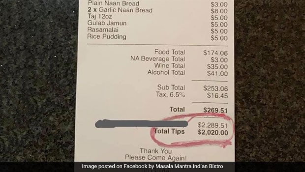 Indian Restaurant In US Gets Generous $2,020 Tip From Patron. See Viral Post