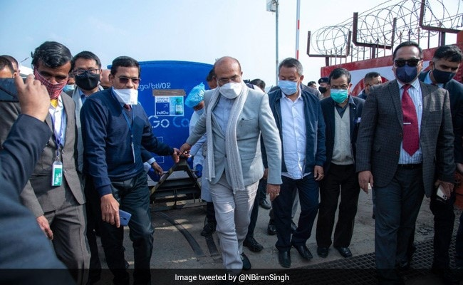Manipur Chief Minister Receives Covidshield Covid Vaccine At Airport