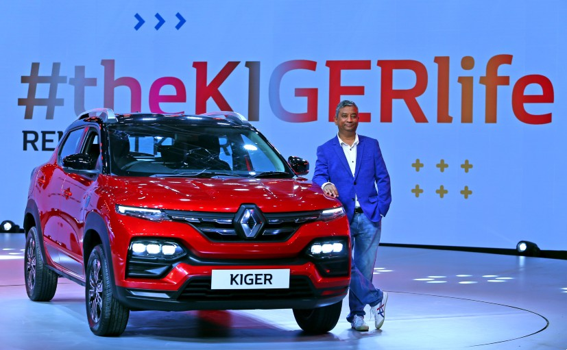 Venkatram Mamillpalle, Country CEO & MD, Renault India with the 2021 Renault Kiger SUV