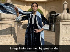 Gauahar Khan Sets Vacay Style Goals In An Elegant Velvet Suit