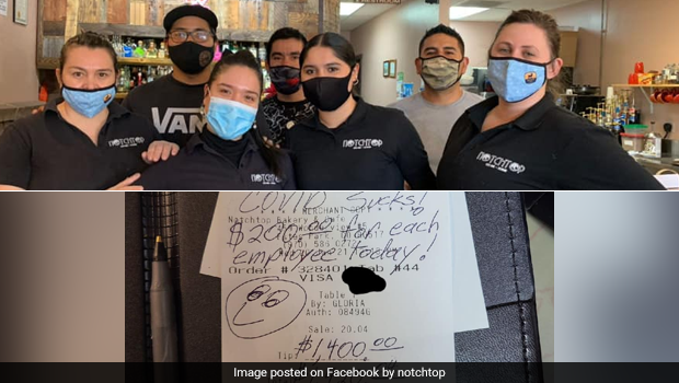 Viral Post: Kind Patron Leaves $200 Tip For Each Of 7 Restaurant Employees