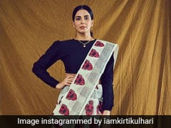 Kirti Kulhari's Graphic Print <i>Saree</i> Is Perfect For A Fusion Look
