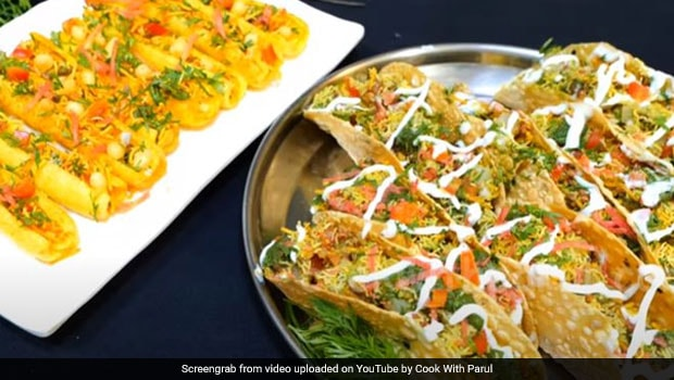 Masala Papad Taco Chaat: If You Want To Healthy And Tasty Snack Without A Drop Of Oil, You Can Make Masala Papad Taco Chaat Recipe