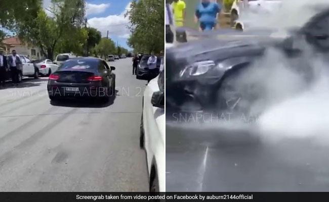Mercedes Bursts Into Flames As Driver Attempts Burnout. Watch