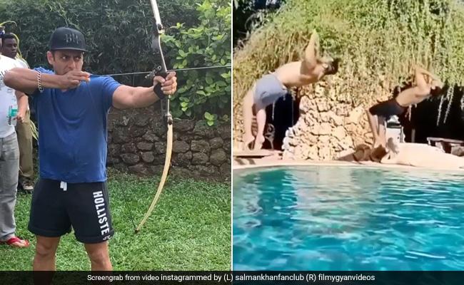 Salman Khan ने कभी पूल में मारी उल्टी छलांग तो कभी निशाने पर मारा तीर- देखें Videos