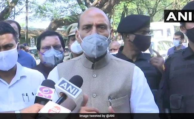 Rajnath Singh Visits Union Minister Shripad Naik In Goa Hospital