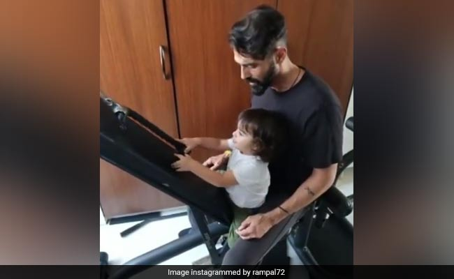 Arjun Rampal Working-Out With One-Year-Old Son Arik Has Gabriella Demetriades' Heart