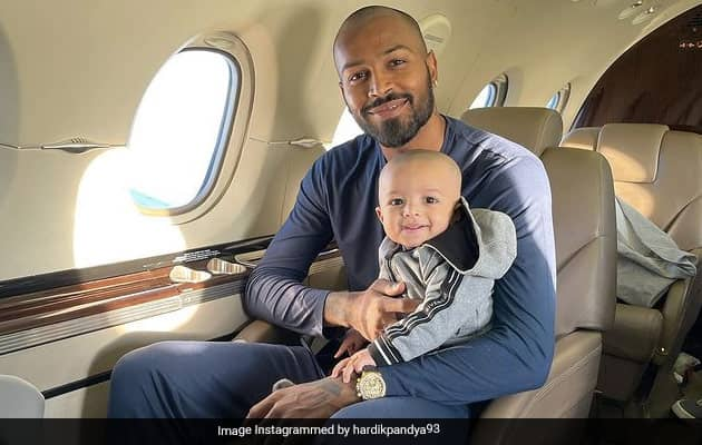 "Hardik Pandya Shares Adorable Pic As Son Agastya Boards ""First Flight"""