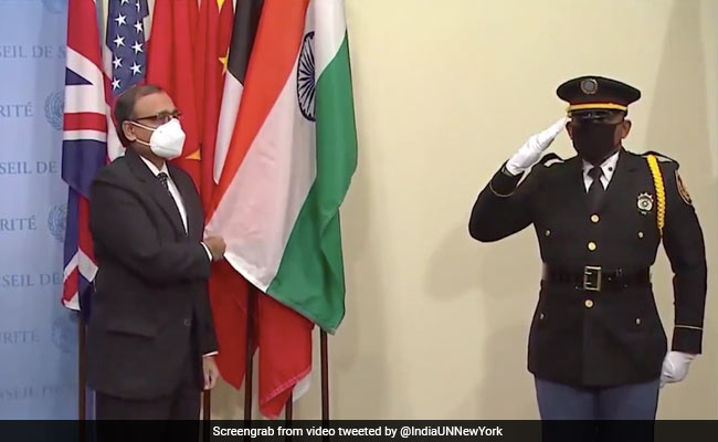 Indian Flag Installed At UNSC Stakeout As It Begins Its Eighth Tenure