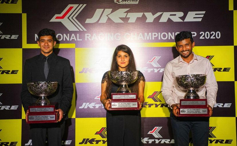 Anushriya Gulati (centre) won the rookie of the year title in the LGB Formula 4 category