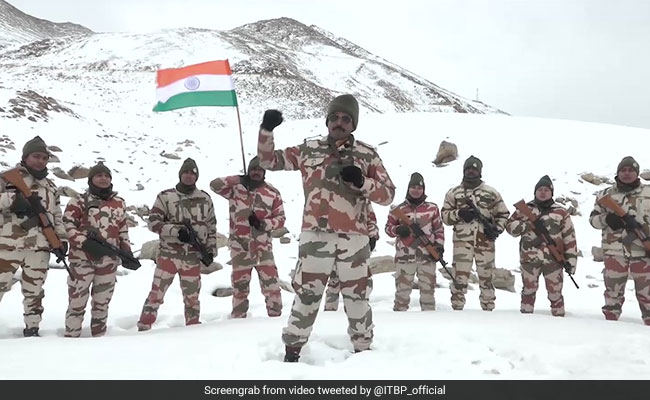 Watch: ITBP Jawans March With Tricolour On Republic Day In Frozen Ladakh