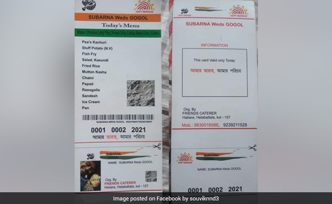 शादी में कपल ने Aadhaar Card स्टाइल में छपवाया फूड मेन्यू कार्ड, लोग बोले-  लाना जरूरी है क्या...