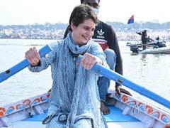 Priyanka Gandhi Vadra Takes Holy Dip In Sangam, Rows Boat On Way Back