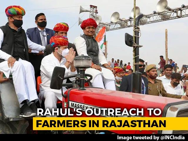 "Video : ""Modi<i>ji Chahte Hain</i>..."": Rahul Gandhi At Rajasthan Tractor Rally"