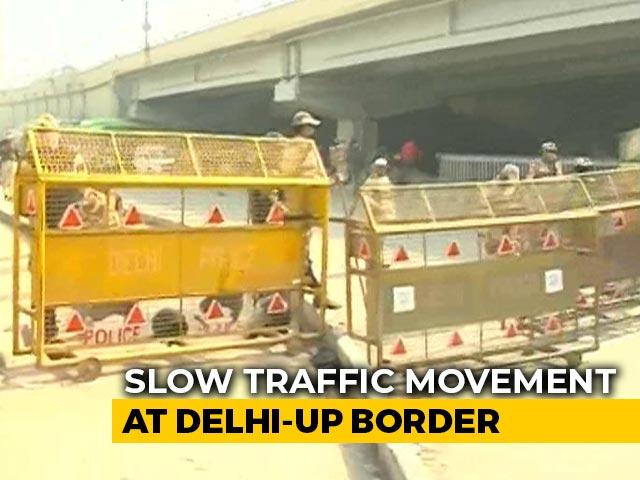Video : Slow Traffic Movement At Delhi-UP Border Amid Farmers' Protest