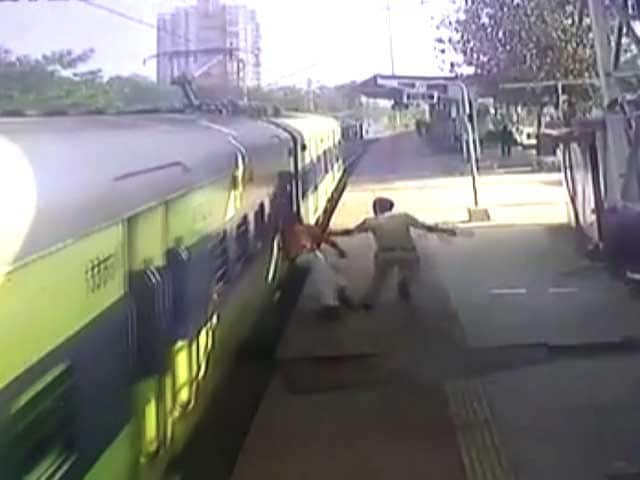Video : Watch: Railway Cop Saves Differently-Abled Man From Falling Under Train