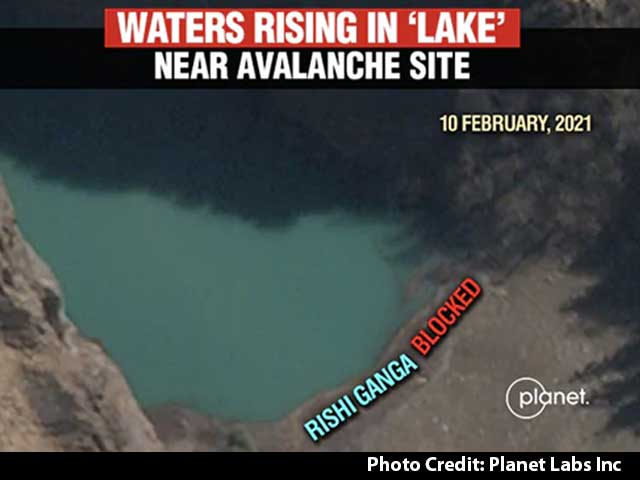 "Video : Satellite Pics Show ""Dangerous"" Lake Formed By Uttarakhand Avalanche"