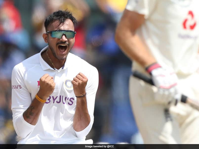 Axar Patel celebrates the wicket of Joe Root on Day 2, in Chennai.© Twitter/ ICC
