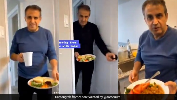 Adorable Video Of Dad Bringing Food For Daughter Working From Home Is Going Viral