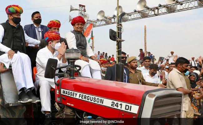 """Modiji Chahte Hain…"": Rahul Gandhi At Rajasthan Tractor Rally"